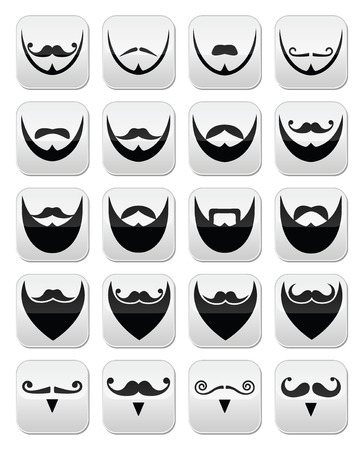 Beard with moustache or mustache vector icons set Vector