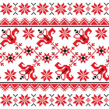 slavic: Ucraino, folk slavo tradizionale maglia modello emboidery rosso Vettoriali
