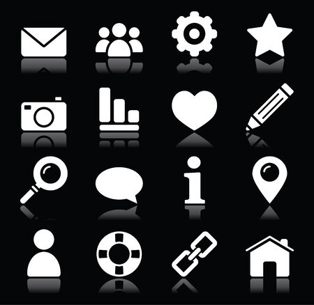 Website menu navigation white icons on black Vector