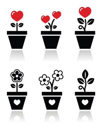 Heart in flower pot vector icons set Vector