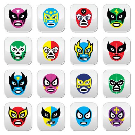 traje mexicano: Lucha Libre, Luchador mexicano máscaras de lucha libre iconos