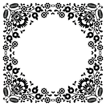 kaszuby: Polish floral folk black embroidery frame pattern - wzory lowickie
