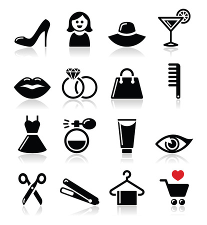Woman or girl - beauty and fashion vector icons set  Vector