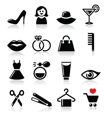 Donna o ragazza - la bellezza e la moda icone vettoriali set