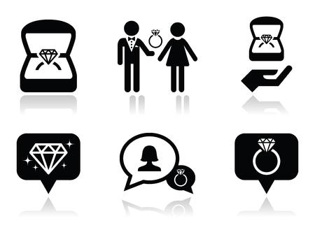anillo de compromiso: Compromiso, anillo de diamante en los iconos del vector de la caja fijados Vectores