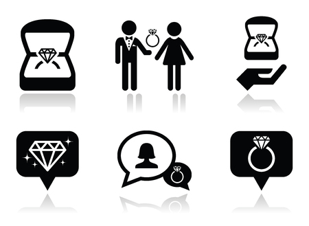 engagement ring: Engagement, diamond ring in box vector icons set