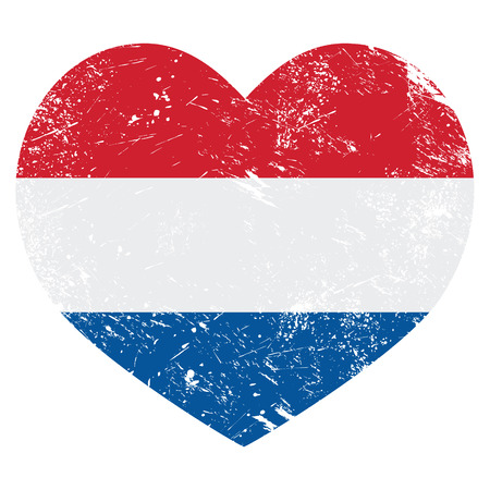 Netherlands, Holland heart retro flag Vector