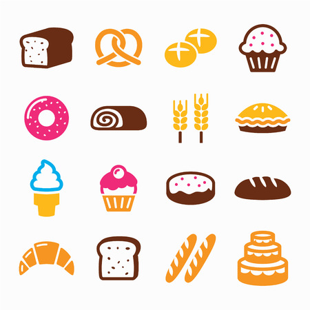 swiss roll: Bakery, pastry icon set - bread, donut, cake, cupcake