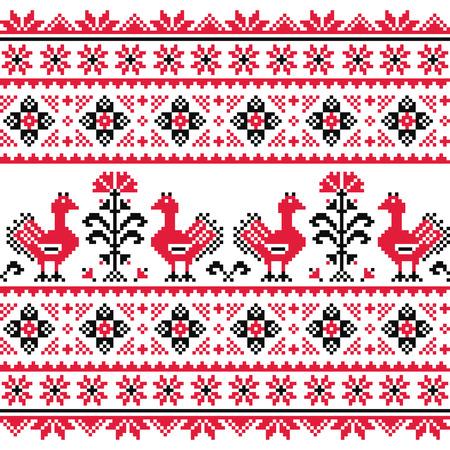 Ukrainian Slavic folk knitted red emboidery pattern with birds Vector