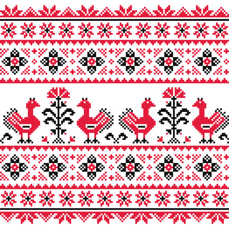 Ukrainian Slavic folk knitted red emboidery pattern with birds Vector