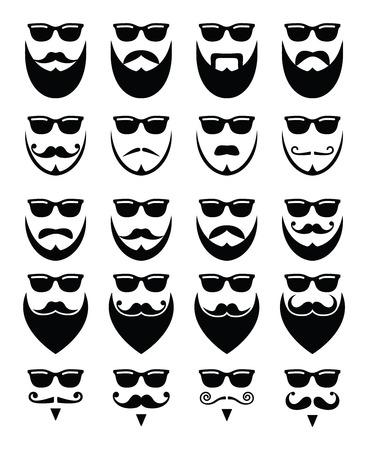 Baard en zonnebril, hipster pictogrammen instellen Vector Illustratie