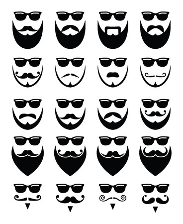 cartoon hairdresser: Beard and sunglasses, hipster icons set Illustration