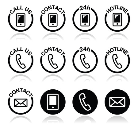 Contact, hotline, 24h help icons set