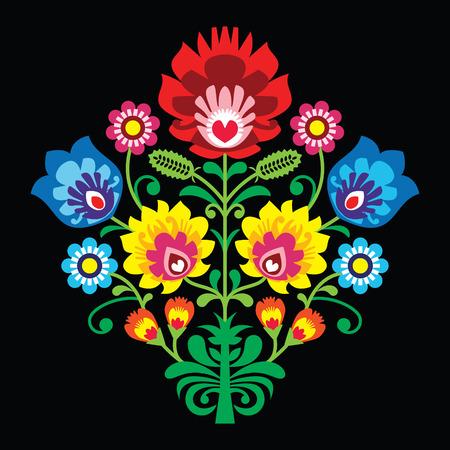 flower art: Ricamo popolare polacca con i fiori - modello tradizionale su sfondo nero