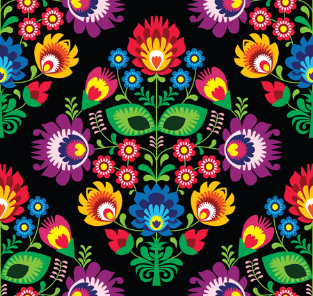 embroidery on fabric: Seamless traditional floral Polish pattern on black