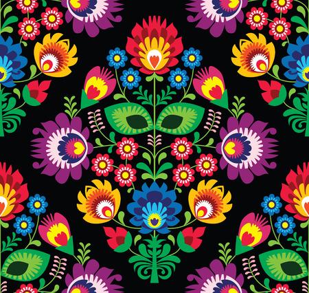 eurpean: Seamless traditional floral Polish pattern on black