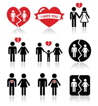 Couple breakup, divorce vector icons set  Vector