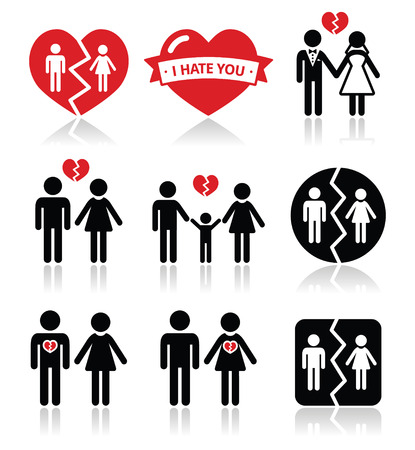 divorce: Couple breakup, divorce vector icons set  Illustration