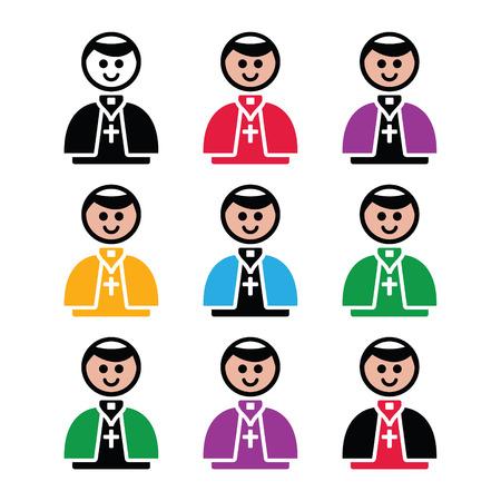 カトリック教会教皇ベクトル アイコンを設定