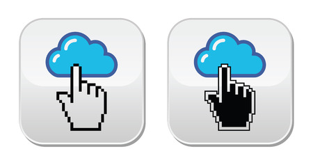 email contact: Contact - envelope, email, speech bubble with cursor hand icons