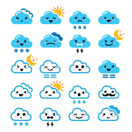 Cute cloud - Kawaii, Manga icons with different expressions - happy, sad, angry  Vector