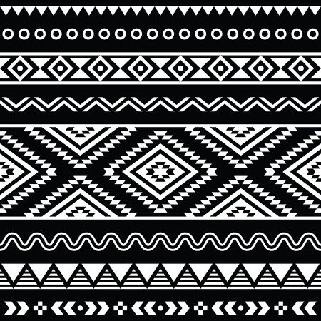 mexican folklore: folk seamless aztec ornament, ethnic pattern Illustration
