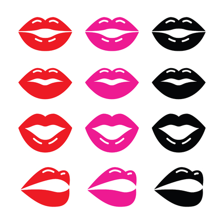 Lips, kiss red, pink and black glossy icon  Vector