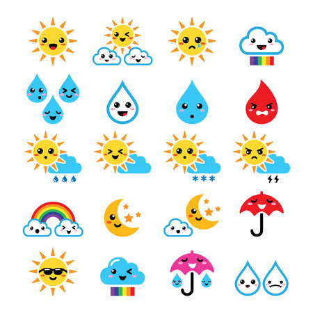 rainbow umbrella: Cute sun, rainbow, moon, rain and cloud - Kawaii, Manga icons