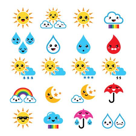 sol caricatura: Lindo sol, arco iris, la luna, la lluvia y la nube - Kawaii, iconos Manga Vectores