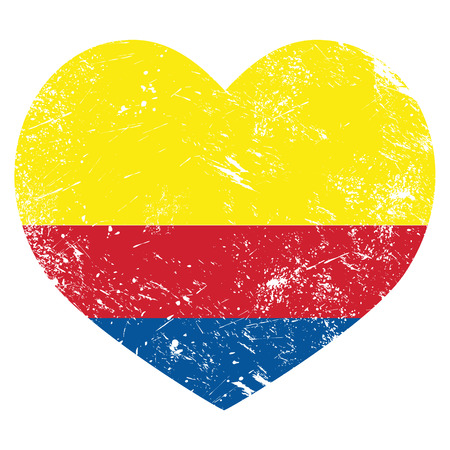 Columbia retro heart shaped flag  Vector