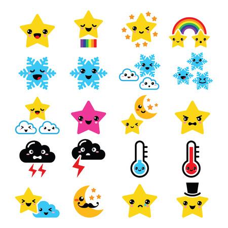 Nette kawaii Wetter-Icons-Sterne, Regenbogen, Mond, Schneeflocke, Donner und Wolken Illustration