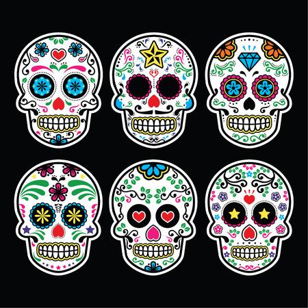 calavera: Cráneo del azúcar mexicano, iconos Día de los Muertos fijó en el fondo negro