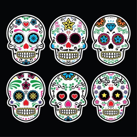 Mexican sugar skull, Dia de los Muertos icons set on black background Vector