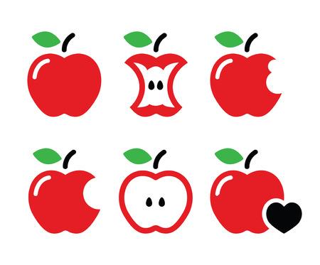 manzana: Manzana roja, manzana central, mordido, iconos vectoriales medio Vectores