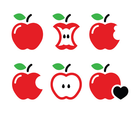 red apples: Red Apple, apple core, bitten, half vector icons