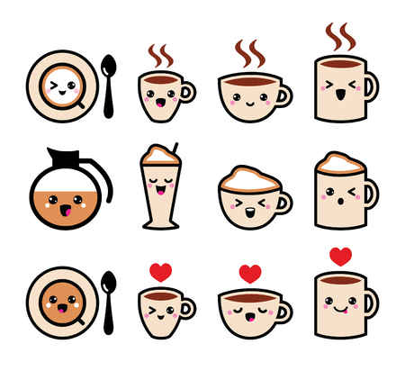 Cute coffee, cappuccino and espresso kawaii icon set - vector Vector
