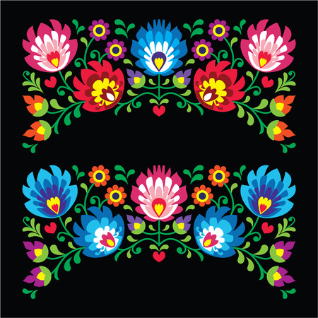 Polish floral folk embroidery patterns for card on black - Wzory Lowickie Vector