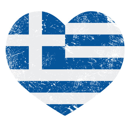 europe closeup: Greece heart love retro flag Illustration