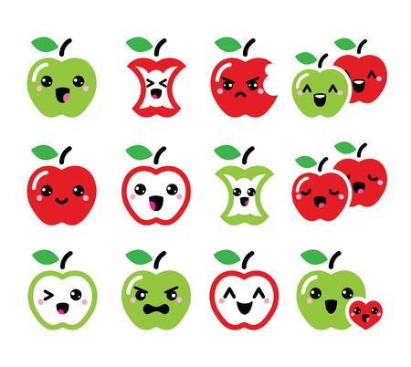 Leuke rode appel en groene appel kawaii pictogrammen instellen