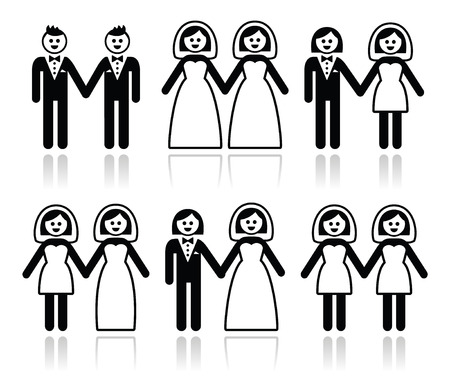 Gay and lesbian wedding - groom and bride icons set Vector