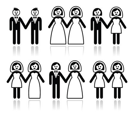 Gay et lesbien mariage - marié et la mariée ensemble d'icônes