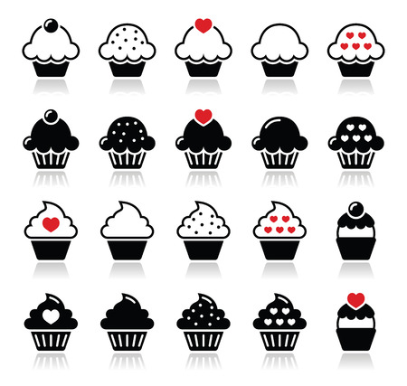 cupcakes isolated: Cupcake with heart, cherry and sparkles icons set