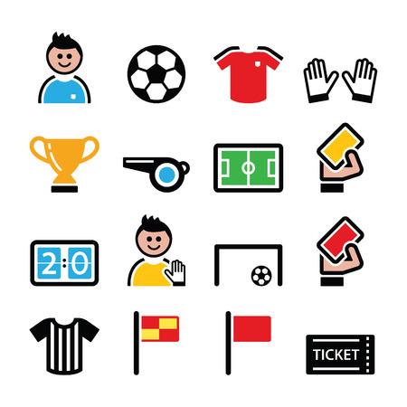 サッカーまたはフットボールのカラフルなベクトル アイコンを設定