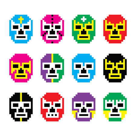 Lucha Libre, luchador pixelated Mexican wrestling masks icons Vector