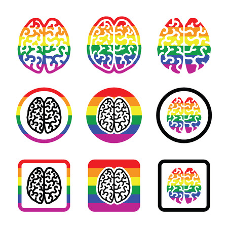 Gay Human brain icons set - rainbow symbol Vector