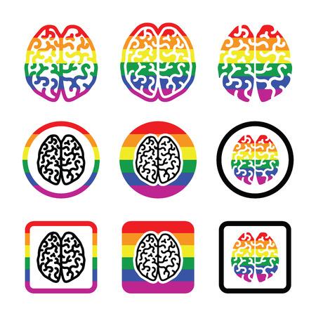 lesbian: Gay Human brain icons set - rainbow symbol