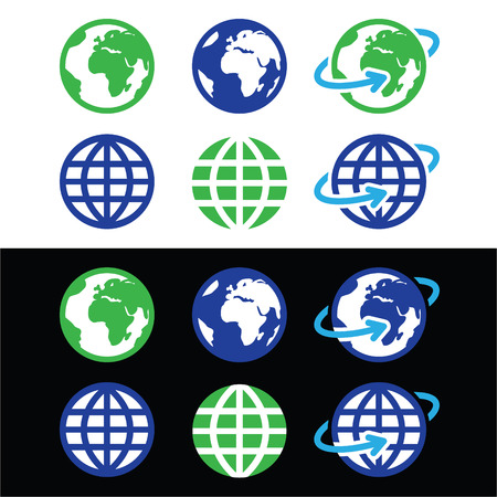 Globe earth vector icons in color Vector