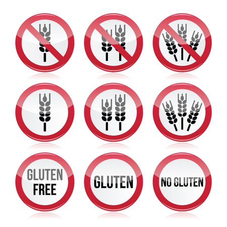 gluten: Gluten free, no gluten warning vector signs