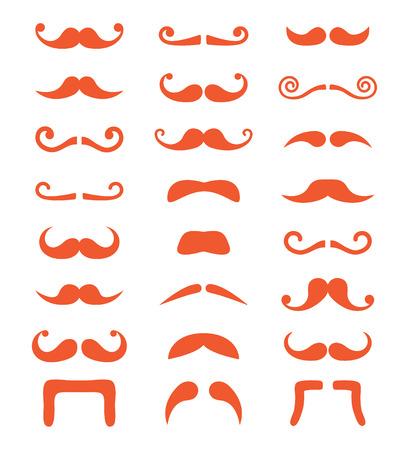 man long hair: Ginger moustache or mustache vector icons set