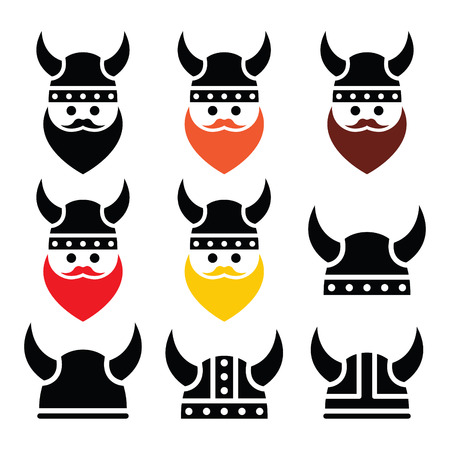 Viking warrior in helmet icons set  Illustration